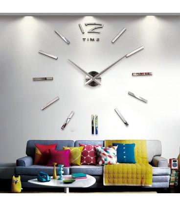 ساعت دیواری طرح تایم (نقره ای)