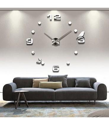 ساعت دیواری طرح پرنده (نقره ای)