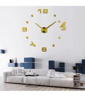 ساعت دیواری طرح پرنده (طلایی)