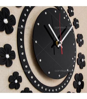 ساعت دیواری طرح نیلوفر (مشکی)