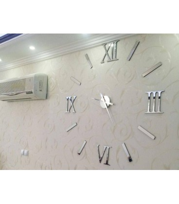 ساعت دیواری طرح مدرن رومی (نقره ای)