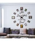 ساعت دیواری قاب عکسی خانواده (قهوه ای)