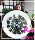 ساعت دیواری چوبی آینه دار طرح نگار