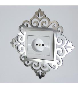 آینه دور کلید و پریز طرح فلور (تکی)