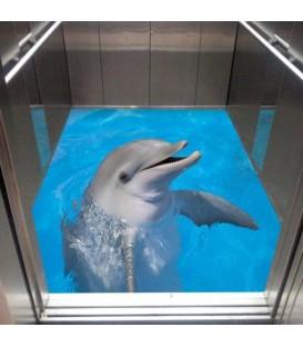 کفپوش سه بعدی آسانسور طرح دلفین
