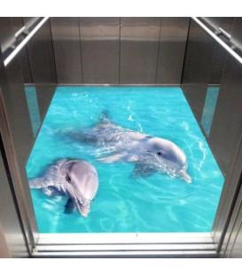 کفپوش سه بعدی آسانسور طرح دلفین ها