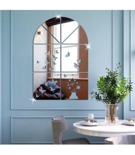 آینه دکوراتیو طرح پنجره فانتزی (نقره ای)