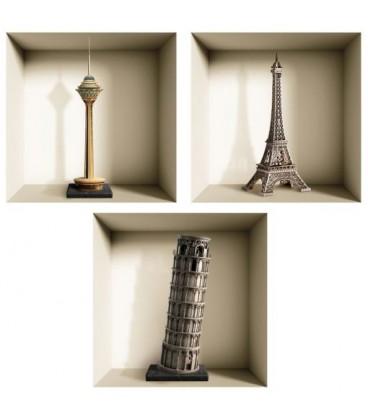 استیکر سه بعدی طاقچه مجازی طرح برج ها
